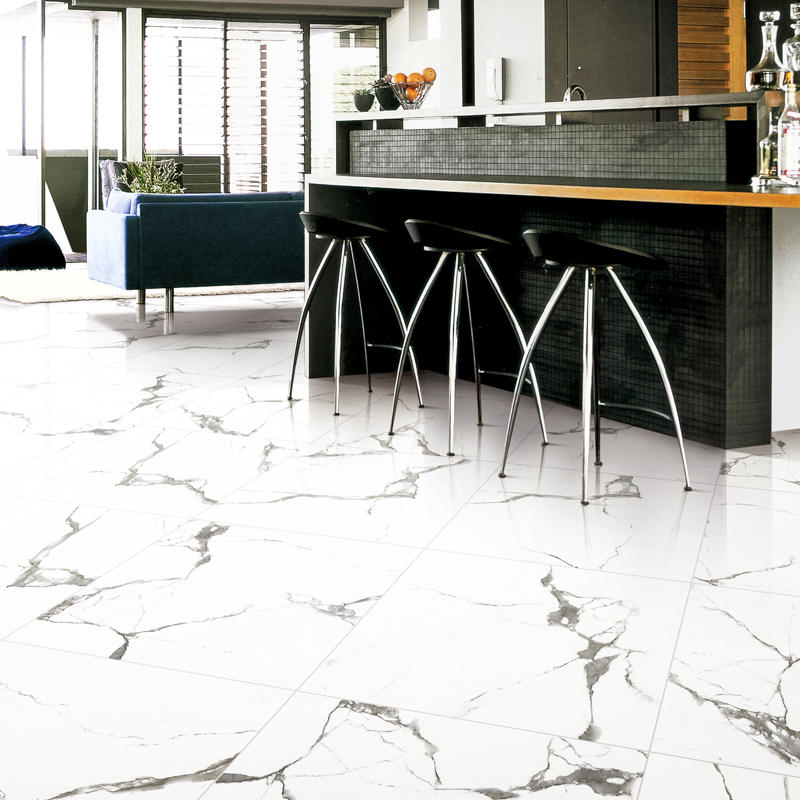 Inkjet Snow White Marble Series Super Market Porcelain Tiles SP6PT81T