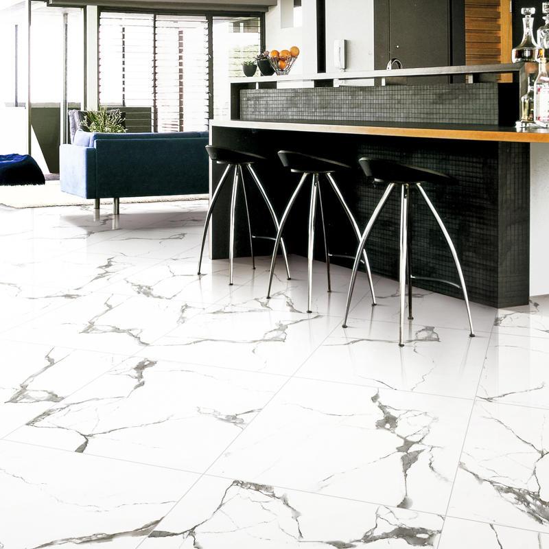 Inkjet Snow White Marble Series Super Market Porcelain Tiles SP6PT81T