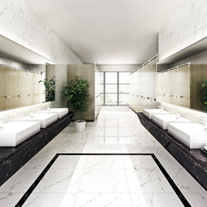 Inkjet Snow White Marble Series House Flooring Porcelain Tiles SP6PT82T