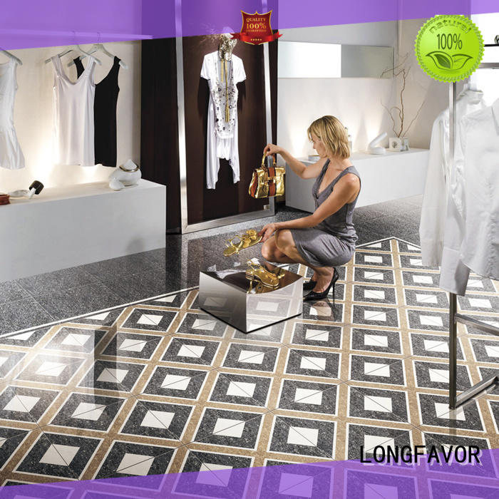 LONGFAVOR pure black polished stone tiles on-sale Shopping Mall