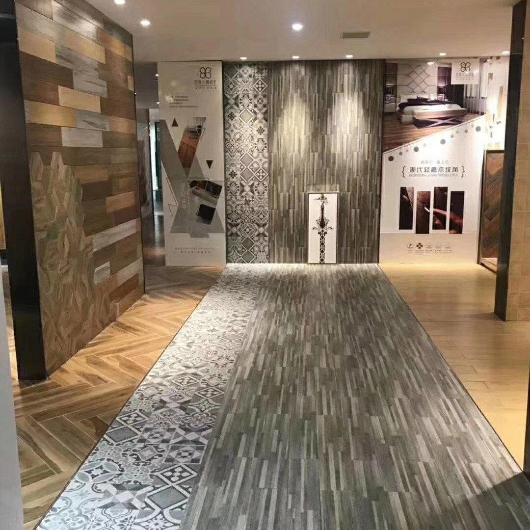 LONGFAVOR natural ceramic tile wood look planks popular wood Apartment-1