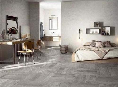 LONGFAVOR Wooden Grey Full Body Porcelain Tile RC66R0D21W Wood Look Full Body Rustic Tiles image5