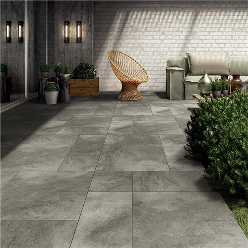 24''x24'' Dark Grey Outdoor Rough Cement Floor Tile Designs JC66R0E06