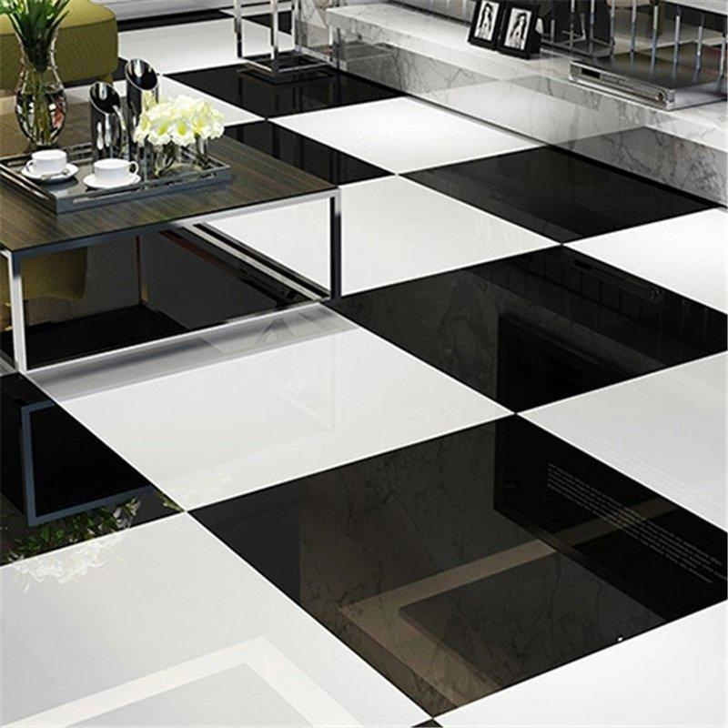 Super Black & Super White Polished Porcelain Tile