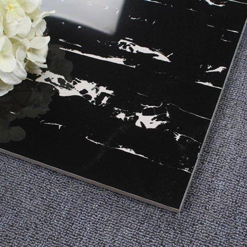 LONGFAVOR 60X60/800X800 Black Marble White Veins Porcelain Tile XD66G0B05 Full Polished Glazed Marble Tiles image3