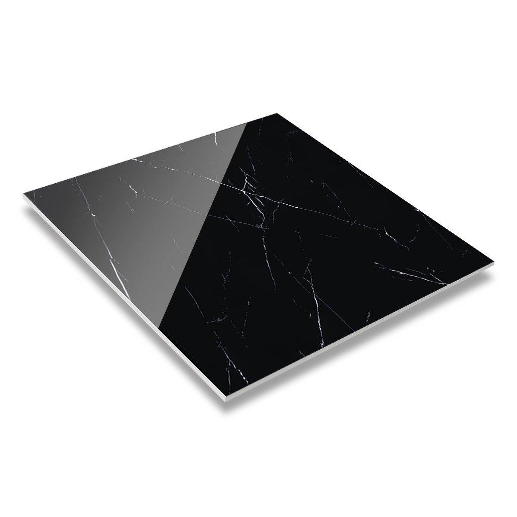 LONGFAVOR 60x60/80x80 Nero Margiua Marble Polished Glazed Restaurant Black And White Ceramic Floor Tiles GL66G0A22 Full Polished Glazed Marble Tiles image2