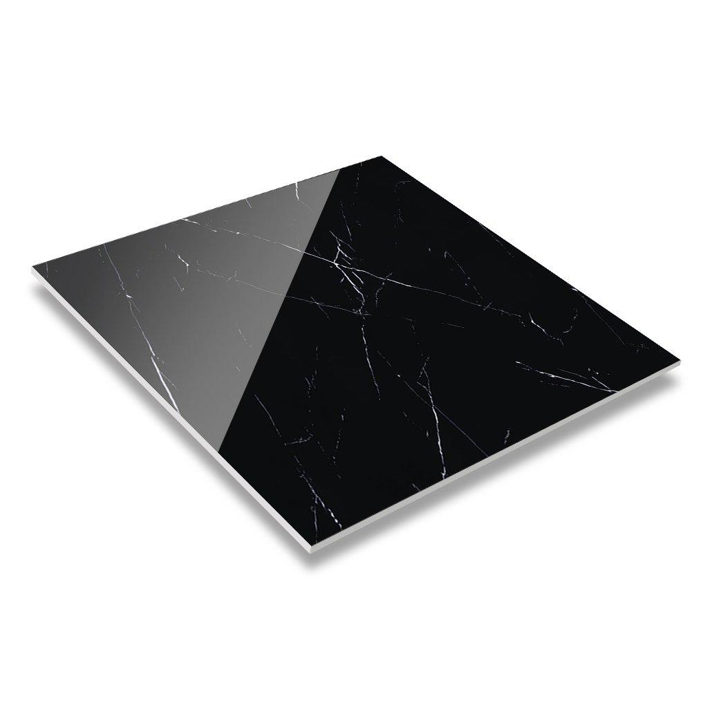 60x60/80x80 Nero Margiua Marble Polished Glazed Restaurant Black And White Ceramic Floor Tiles 6B6067