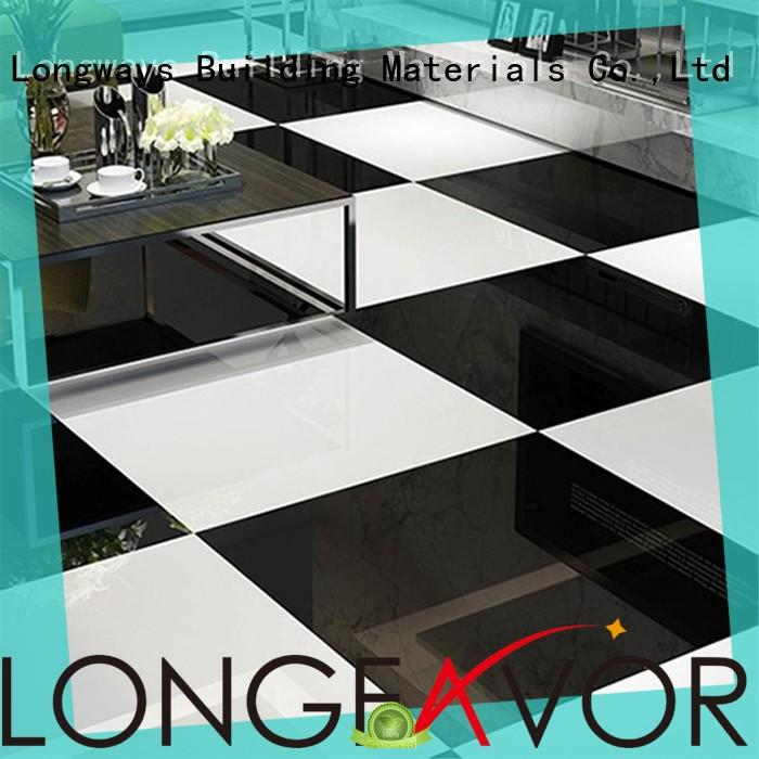 LONGFAVOR pure black polished stone tiles on-sale Shopping Mall