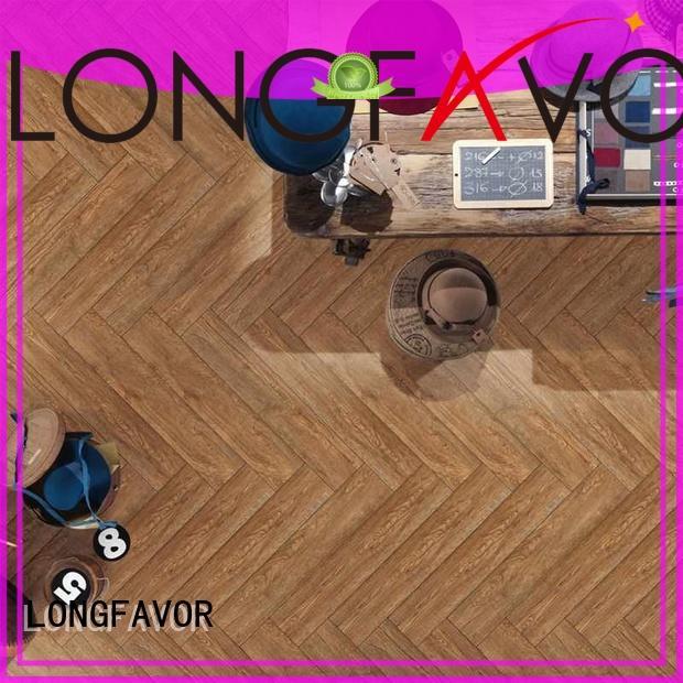 LONGFAVOR wooden ceramic tile wood look planks ODM Hotel
