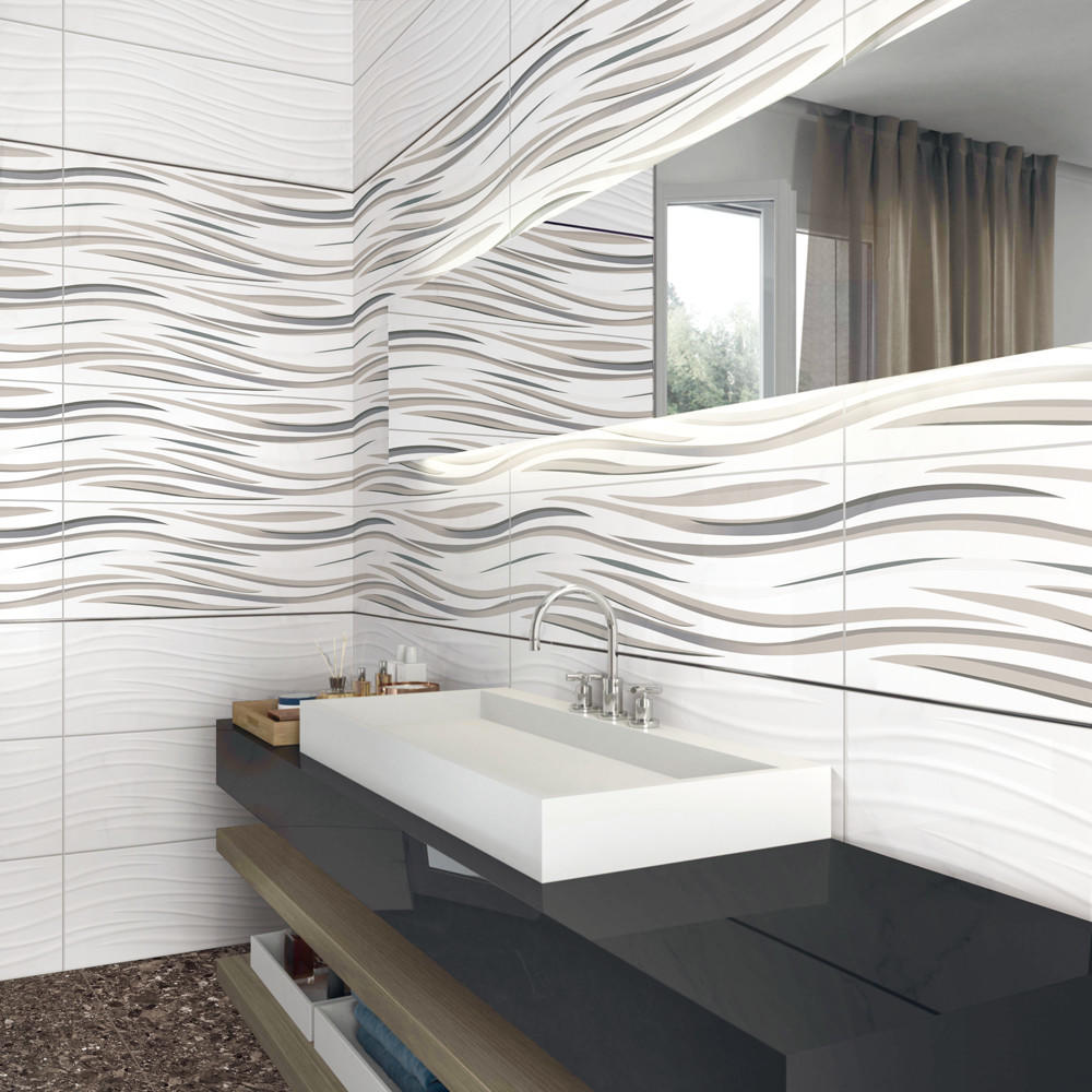 LONGFAVOR white wave 300x600mm Ceramic Wall Tile oem Borders-1